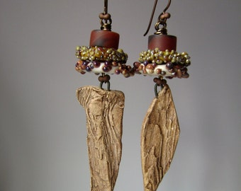 Lichen on Bark, mixed media earrings, lampwork beads, carnelian agate bead, assemblage earring, asymmetrical, organic rustic, AnvilArtifacts