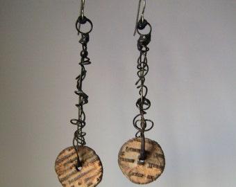 assemblage earrings with ceramic script beads, mixed media earrings, rustic tribal, unique ooak, soldered wire hoop earrings, AnvilArtifacts