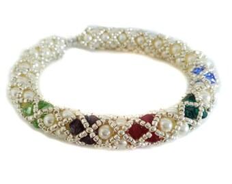 Mother's  Swarovski  Pearl Bracelet, Birth Month Swarovski  Crystal Bracelet
