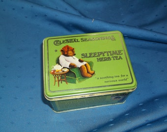 Celestial Seasonings SLEEPYTIME Herb Tea Tin, made in 1982, with charming illustrations.