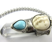 moon daughter - quartz crystal & larimar - goddess pendant - raw crystal jewelry