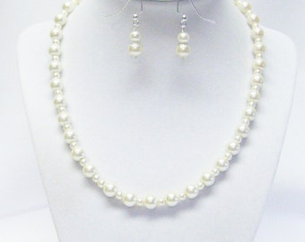 Ivory 4/8mm Glass Pearl Necklace/Bracelet/Earrings Set