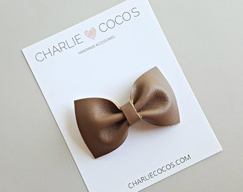 "Baby / Girls Leather Bow Headband, Leather Hair Bow Clip, Genuine Leather Baby Bows ""Espresso Classic"" charliecocos"