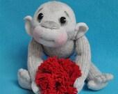 "Fretta's Original Sock Monkey. Hand stitched 10"" / 25 cm tall Soft Sculptured Baby Monkey"