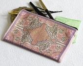 Pink Purse, Pink Ethnic Purse, Mini Wallet, Metallic Gold, Organiser Pouch, Travel Purse
