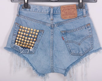 High waisted Denim Shorts Destroyed Ripped Studded Back Jeans Vintage Cut Off Levi's Wrangler Lee Classic Brands MADE TO ORDER