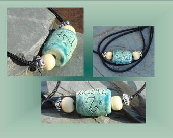 Theban Angel Necklace Teal Ceramic Pendant Pottery Jewelry Stone Focal Bead Pagan Script Symbols
