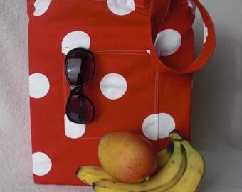 Simple handmade shopping bag - large tote bag - Polka Dot Red