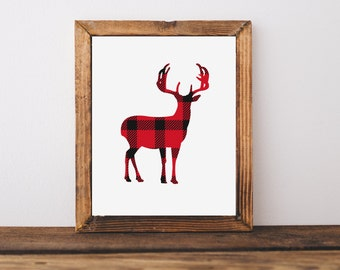 Deer art print, Rustic nursery art poster, Red plaid deer art print, Woodland nursery decor, Cabin decor art, lumberjack decor, A-1236