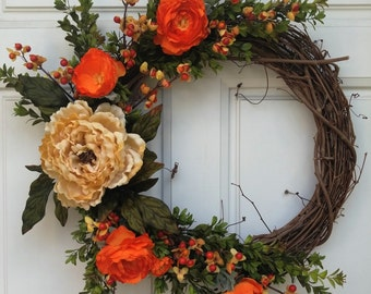 Fall Gold Peony orange ranunculus bittersweet boxwood grapevine wreath