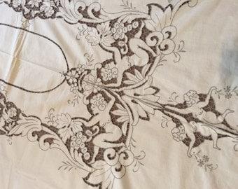 Vintage Cupid Italian Lace Tablecloth