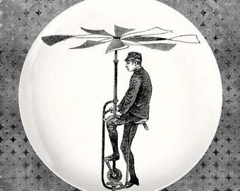man and his flying machine melamine plate