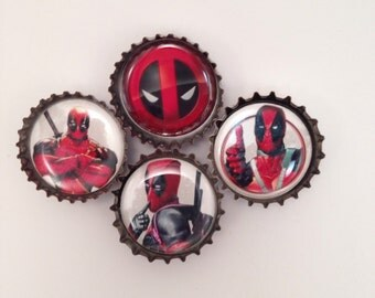 Dead Pool Bottle Cap Magnets | bottle cap art