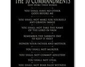The TEN Commandments on Canvas Wall Art, Red Barn Canvas, Spiritual Gift