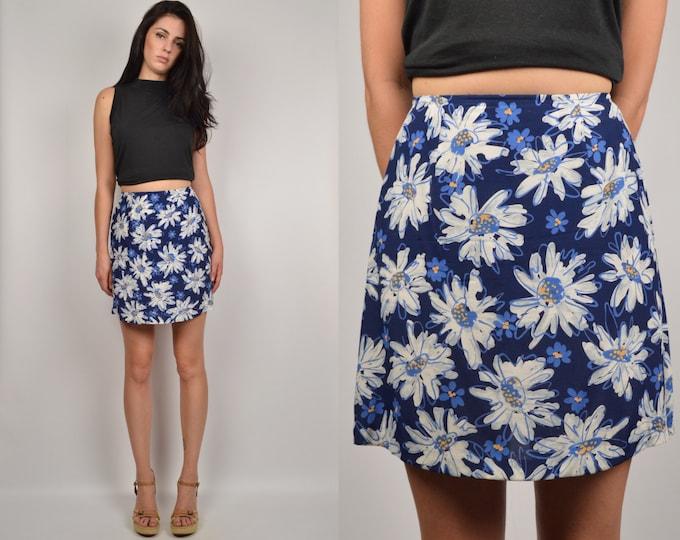 90's High Waisted Daisy Mini Skirt medium