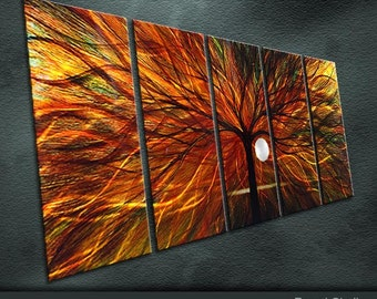 "Large Original Metal Wall Art Modern Abstract Painting Sculpture Indoor Outdoor Decor ""In the evening the sun"" by Ning"