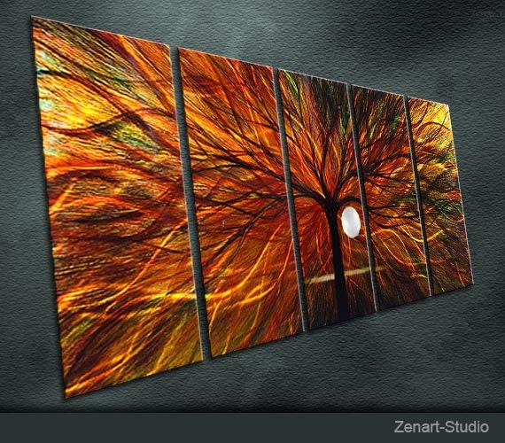 """Large Original Metal Wall Art Modern Abstract Painting Sculpture Indoor Outdoor Decor """"In the evening the sun"""" by Ning"""