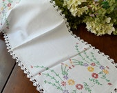 Vintage Linen White with Multi Colored Embroidered Floral Motif Table Runner, Dresser Scarf, Crochet Trim  3429