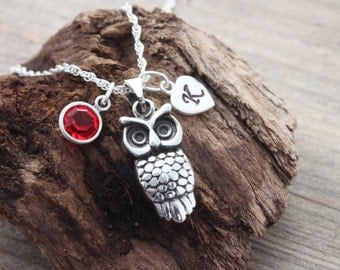 Owl Necklace . Sterling Silver Owl necklace . Personalized Charms, Graduation gift. Teachers gift, symbol of wisdom, Lawyer gift