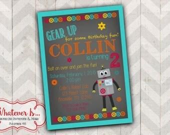 Gear Up! Robot Birthday Invitation