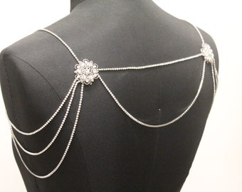 Wedding Rhinestone Shoulder Necklace,Bridal shoulder necklace,Wedding jewelry necklace,Shoulder jewelry necklace,Crystal bolero,Necklace