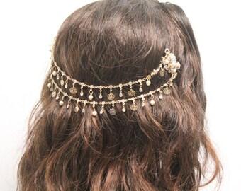 Wedding gold halo,Bridal crown,Wedding tiara,Wedding hair vine,Bridal headpiece,Wedding hair piece,Gold boho halo,Gold flower crown,Wedding