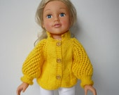 """Hand Knitted Cardigan/Jacket in Yellow for SLIM 18"""" Doll  (DesignaFriend, Similar) - Ready to Ship"""