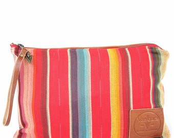 Rosarita Nash Clutch -Handmade Bohemian Fabric & Leather-Environmentally Conscious- purse/pouch/hand bag/clutch/tote