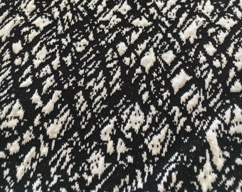 """Sweater Knit Textured Jersey Fabric Black and White Medium Weight - 60"""" Wide - F-17-15"""