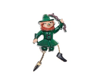 St. Patrick's Day Leprechaun Brooch Articulated Enameled