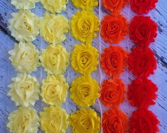 Shabby Chiffon Flower Trim - Your Choice of Color And Quantity! ORANGE YELLOW SCHEME - 1/2 yard or 1 yard - Butter - Pale - Sunny - Torrid