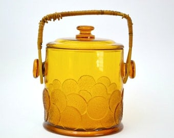 Vintage Fenton Amber Glass Ice Bucket Biscuit Jar and Lid, Rattan Wrap Handle, Macaroon Texture Polka Dots