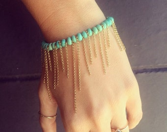 Turquoise and gold fill chain bracelet
