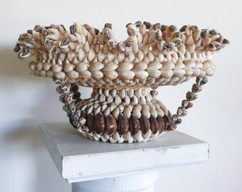 SOLD Vintage Hand Made Bohemian Seashell Bowl for Home Decor or Prop Display
