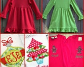 Red or green knit christmas dress personalized with name or monogram
