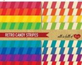 80% off Digital Backgrounds Paper Set RETRO RAINBOW STRIPES 8.5x11 // a4 Size Scrapbook Patterns