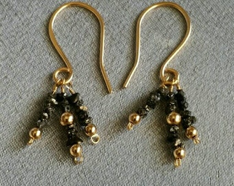 Black Diamond Earrings, genuine black diamond gems with gold fill, handcrafted wire wrap, unique (#1363)