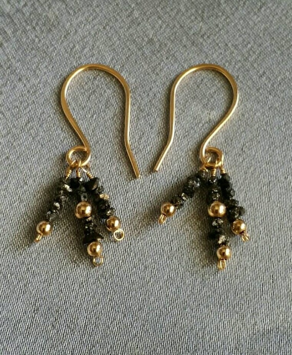 Black Diamond Earrings genuine black diamond gems with gold