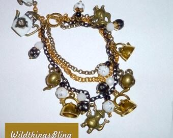 Assorted teapots charm bracelet