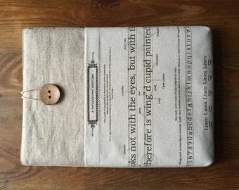 "11 inch MacBook AIR sleeve with pocket, Macbook air 11 inch sleeve, Macbook Case Cover, Laptop Bag - ""Linen"""