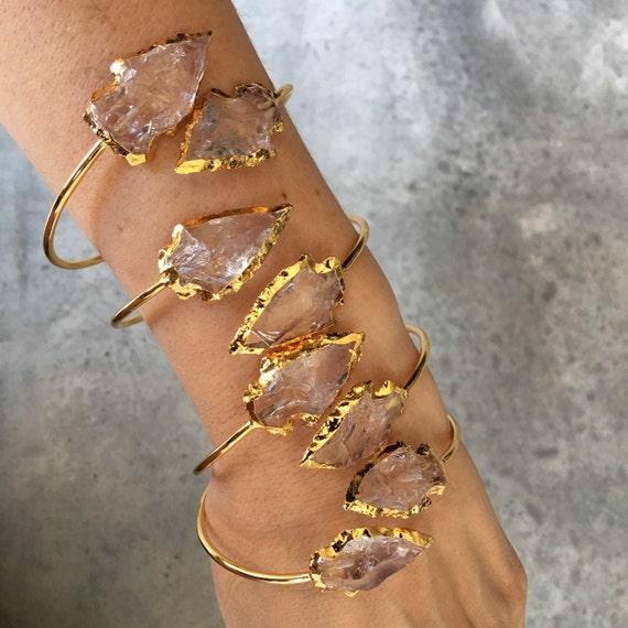 Quartz arrowhead bracelet cuffs