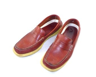 Salvatore Ferragamo red brown leather driving mocs w/ contrast white trim, yellow soles, 6.5 M driving shoes / boat / deck