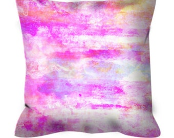 PRETTY IN PINK Pastel Art Suede Throw Pillow Cushion Cover 18x18 20x20 26x26 Abstract Chic Clouds Sky Art Modern Girl Nursery Decor Painting