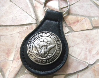 Navy Key Chain, US Navy Black Leather Key Fob, Key Ring, Black Leather Keychain, Military Navy Gift, Navy Mom Wife Girlfriend Dad Key Chain