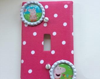 Peppa Pig Light Switch Cover, Peppa Pig Light Switch, Switch Plate Covers, Peppa Pig Switch Plate, Pink Polka Dot Single Switchplate