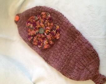 Moody Maroon earwarmers, handknit, , crocheted flower