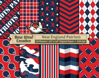 10 New England Patriots Pattern Digital Papers for Scrapbooking, Invitations, Cards,  Graphic Design, Paper Crafts, instant download