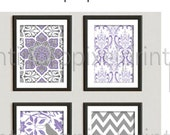 Purple lavendar Ikat Art Wall Gallery Print MOdern Inspired -Set of (4) 4x6 prints (UNFRAMED)