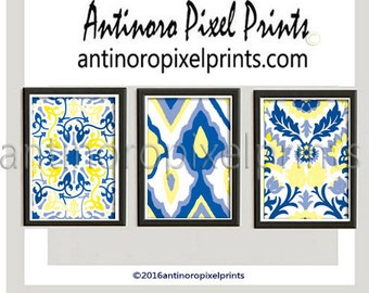 Art Print Ikat Wall Art - Set of (3) 8x10  Featured in Yellows Blues #466319233