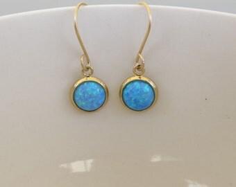 Opal gold earrings ,Dangle blue Opal  earrings. 8mm classic opal earrings